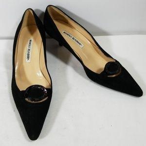 Manolo Blahnik Black Suede Kitten Heels Size 38.5